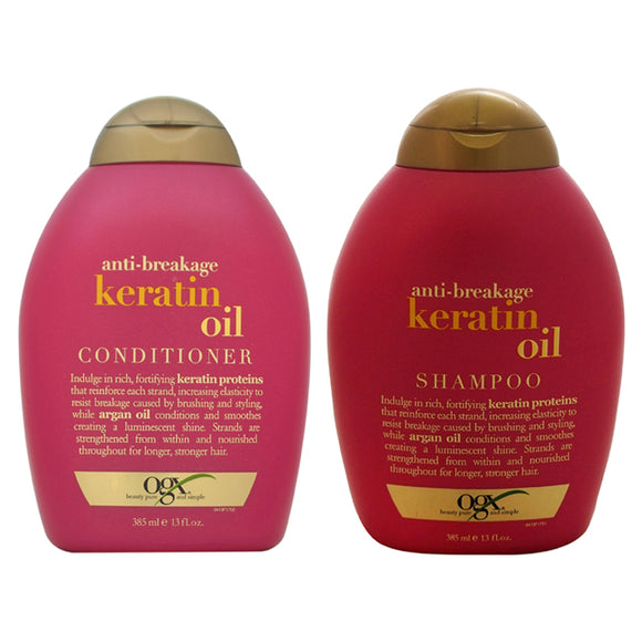 Anti-Breakage Keratin Oil Shampoo and Conditioner Kit by Organix for Unisex - 2 Pc Kit 13oz Shampoo, Pack of 3