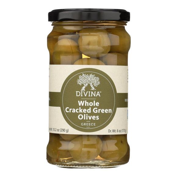 Divina - Cracked Green Olives - Case of 6 - 6.14 oz.