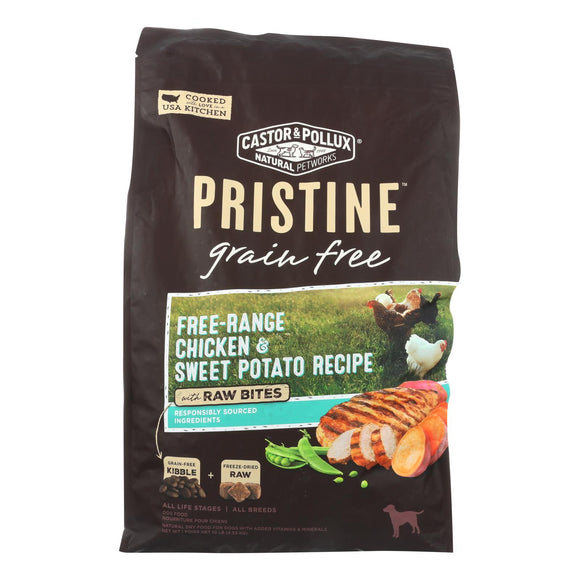 Castor and Pollux - Pristine Grain Free Dry Dog Food - Chicken and Sweet Potato - 10 lb. Pack of 3