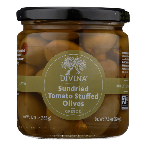 Divina - Olives Stuffed with Sundried Tomatoes - Case of 6 - 7.8 oz.