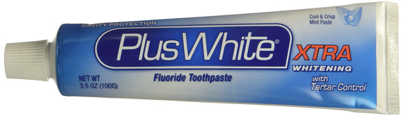 Plus White Xtra Whitening Fluoride Anticavity Toothpaste 3.5 Oz Pack of 24