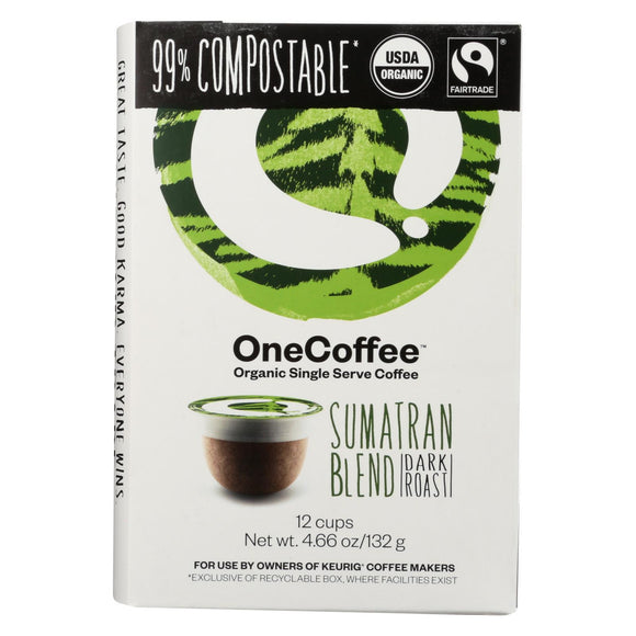 Onecoffee Coffee Sumatran Blend Organic Single  - Case of 6 - 12 CT