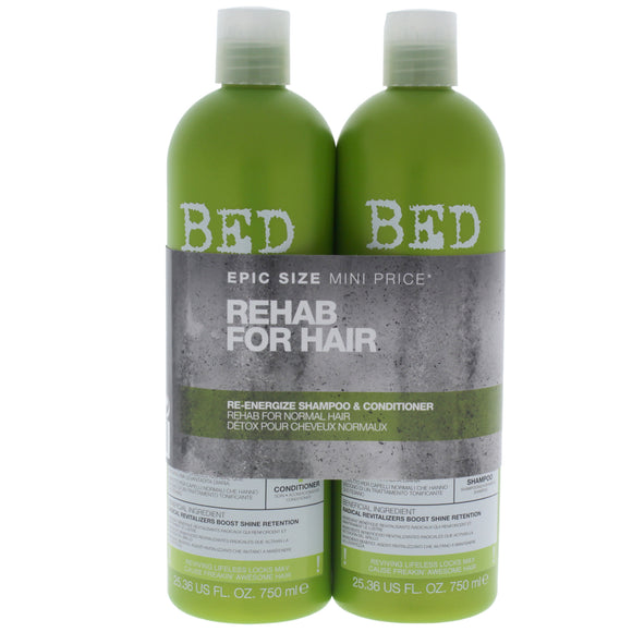 Bed Head Urban Antidotes Re-energize Kit by TIGI for Unisex - 2 Pc Kit 25.36 oz Shampoo, 25.36 oz Conditioner Pack of 3