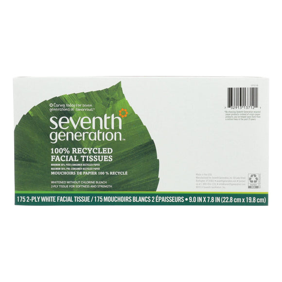 Seventh Generation Recycled Facial Tissue - Box - Case of 36 - 175 Count