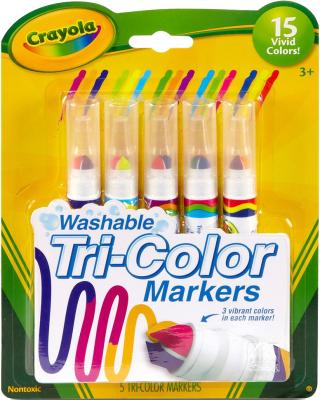 Markers Tri Color 5Ct Washable Pack of 3
