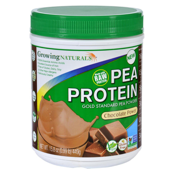 Growing Naturals Pea Protein Powder - Chocolate Power - 15.8 oz Pack of 3