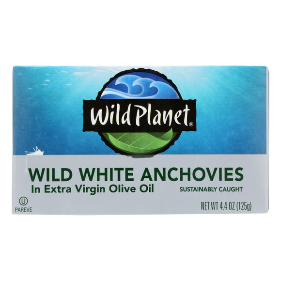 Wild Planet White Anchovies in Extra Virgin Olive Oil - Case of 12 - 4.4 oz