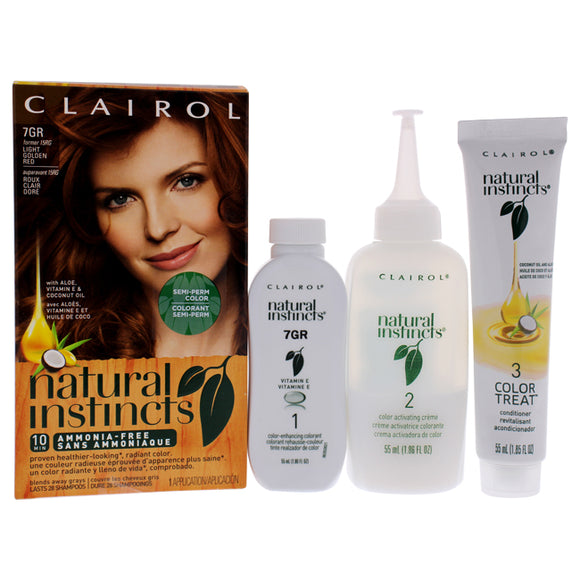 Natural Instincts Haircolor - 7GR Light Golden Red by Clairol for Women - 1 Application Hair Color Pack of 3