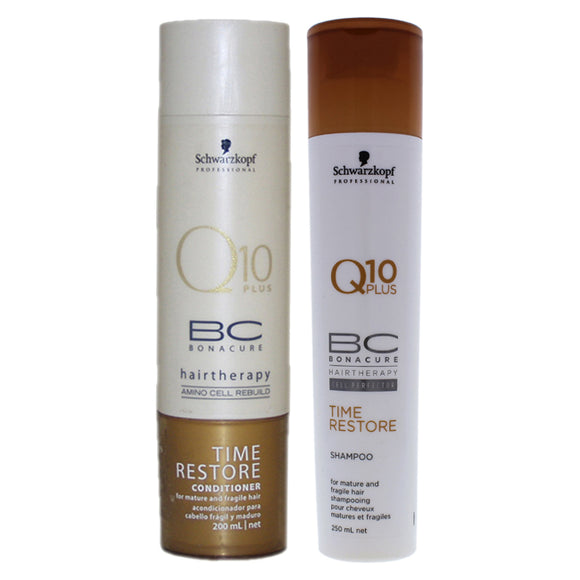 BC Bonacure Time Restore Q10 Plus Shampoo and Conditioner Kit by Schwarzkopf for Unisex - 2 Pc Kit 8 Pack of 3