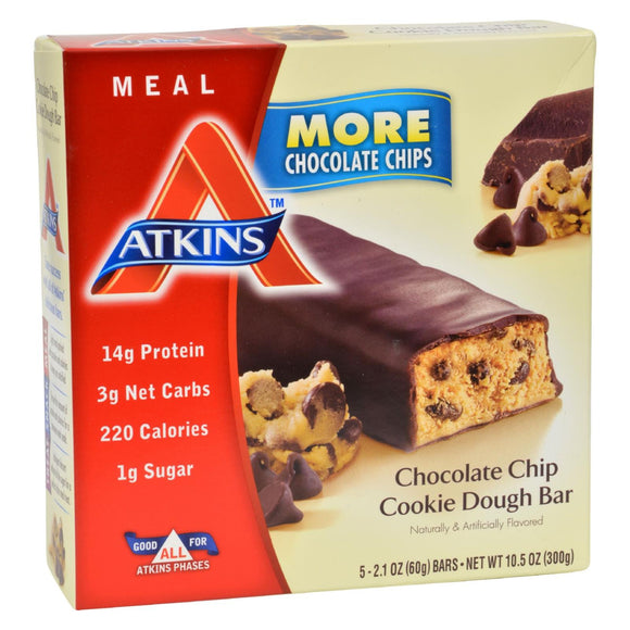Atkins Advantage Bar Chocolate Chip Cookie Dough - 5 Bars Pack of 3
