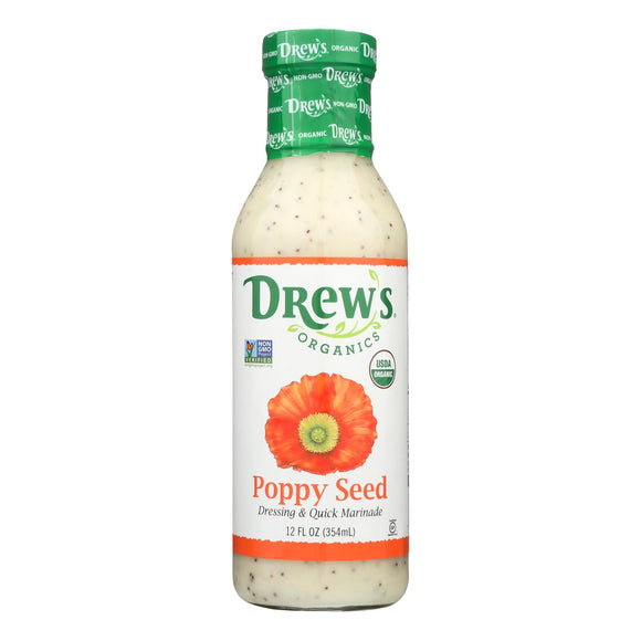 Drew's Organics Organic Dressing and Quick Marinade - Poppy Seed - 12 Fl. Oz. - Case of 6