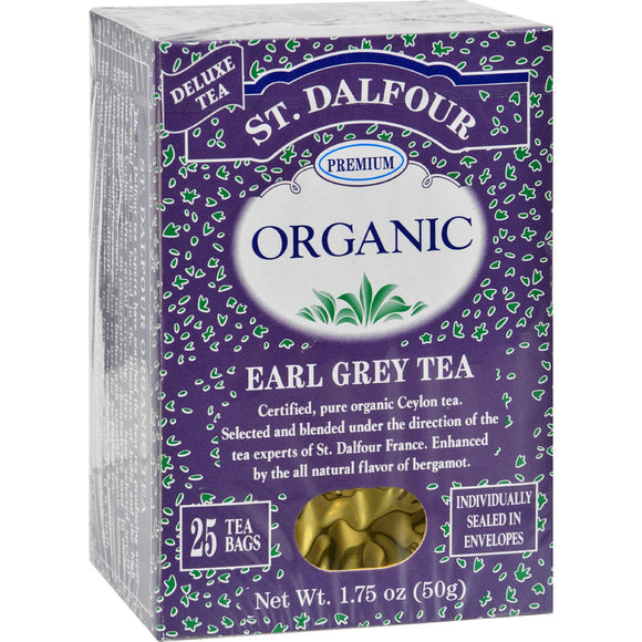 St Dalfour Organic Tea Earl Grey - 25 Tea Bags Pack of 3