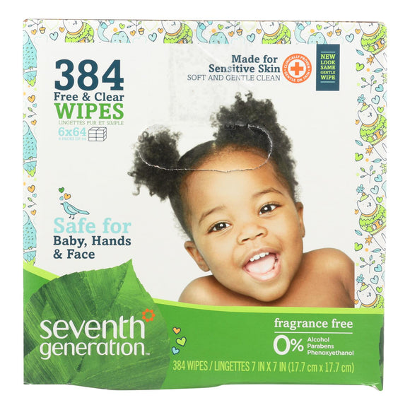 Seventh Generation Baby Wipes - Free and Clear - Multipack - 64 Wipes Each - 6 Count Pack of 3