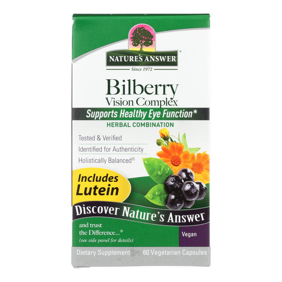 Nature's Answer - Bilberry Vision Complex Plus Lutein - 60 Vegetarian Capsules Pack of 3