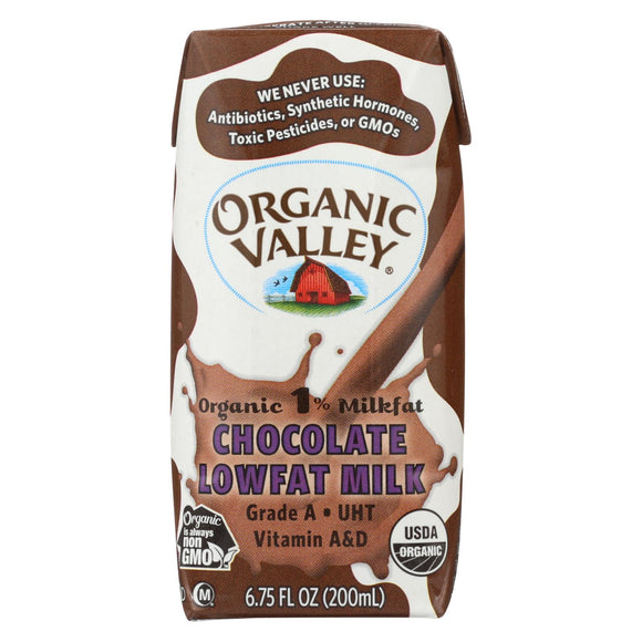 Organic Valley Single Serve Aseptic Milk - Chocolate 1% - Case of 12 - 6.75oz Cartons Pack of 3
