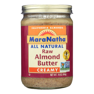 Maranatha Natural Foods Raw Almond Butter - Creamy with No Salt - Case of 6 - 16 oz