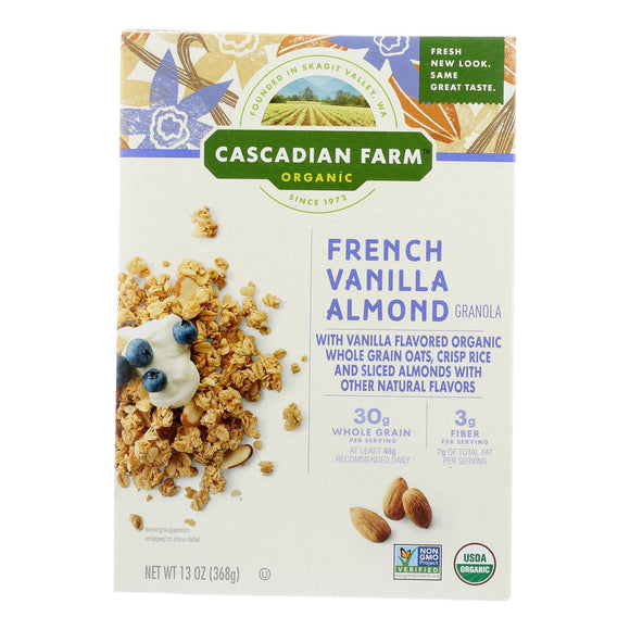 Cascadian Farm Organic Granola - French Vanilla Almond - Case of 6 - 13 oz.
