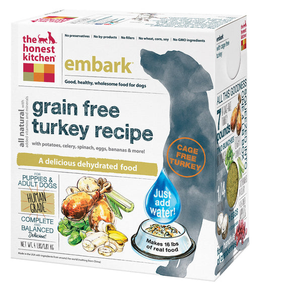 The Honest Kitchen Embark - Grain Free Turkey Dog Food - 4 lb. Pack of 3