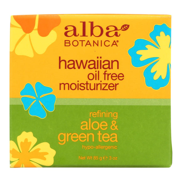 Hawaiian Oil Free Moisturizer Refining Aloe Green Tea by Alba Botanica for Unisex - 3 oz Moisturizer Pack of 3