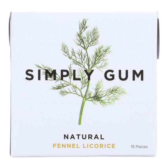 Simply Gum All Natural Gum - Fennel Licorice - Case of 12 - 15 Count