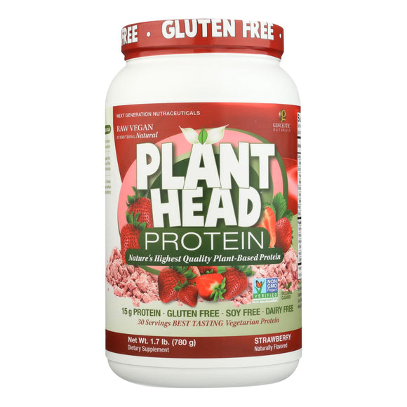 Genceutic Naturals Plant Head Protein - Strawberry - 1.7 lb Pack of 3