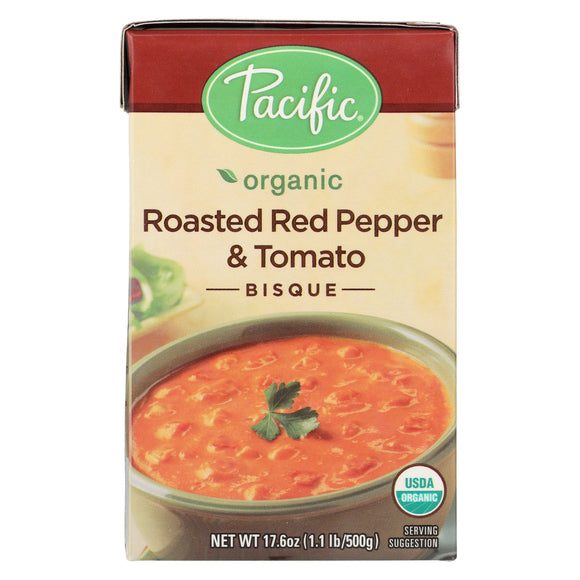 Pacific Foods Bisque Roasted Red Pepper & Tomato Organic  - Case of 6 - 17.6 OZ