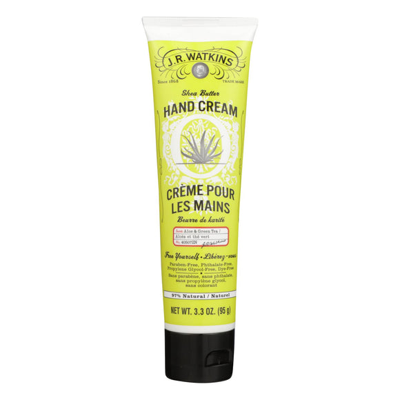 J.R. Watkins Shea Butter Hand Cream Aloe and Green Tea - 3.3 oz Pack of 3