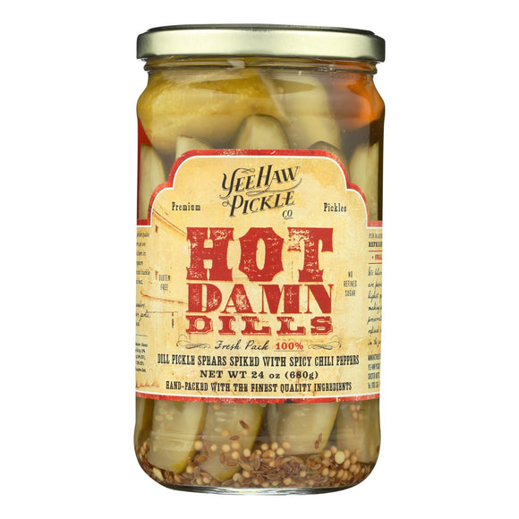 Yee-Haw Pickle Dills Pickle - Hot Damn - Case of 6 - 24 oz.