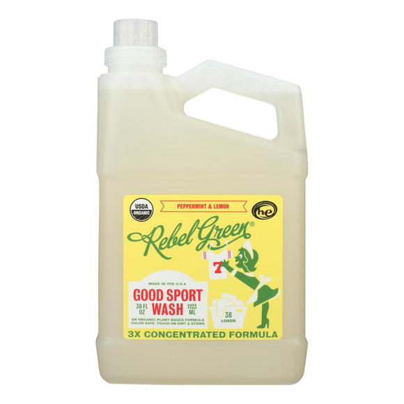 Rebel Green - Laundry Detergent Good Sport Wash - Lemon and Peppermint - Case of 4 - 38 fl oz.