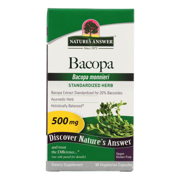Nature's Answer - Bacopa - 500 mg - 90 Veggie Caps Pack of 3