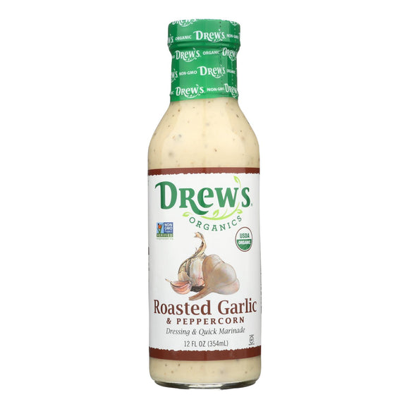 Drew's Organics Organic Dressing and Quick Marinade - Roasted Garlic and Peppercorn - 12 Fl. Oz. - Case of 6