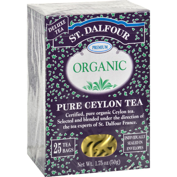 St Dalfour Organic Tea Pure Ceylon - 25 Tea Bags Pack of 3
