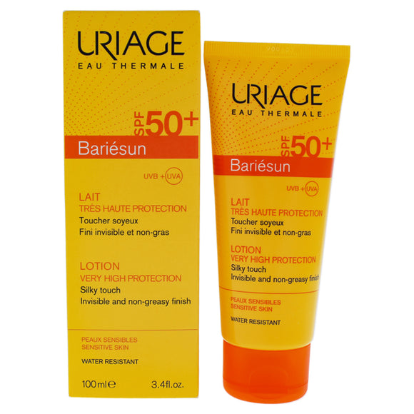 Bariesun Milk Lotion SPF 50 by Uriage for Unisex - 3.4 oz Sunscreen Pack of 3