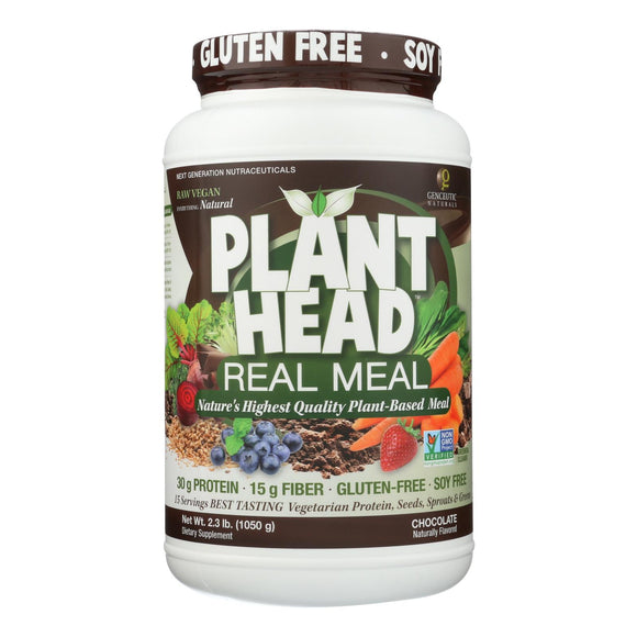 Genceutic Naturals Plant Head Real Meal - Chocolate - 2.3 lb Pack of 3