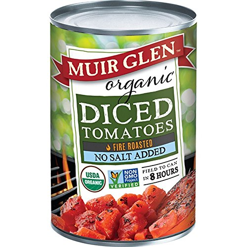 Muir Glen Organic Tomatoes - Fire Roasted - Diced - No Salt - Case of 12 - 28 oz