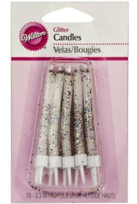 White Glitter Candle 10 Pk Pack of 6