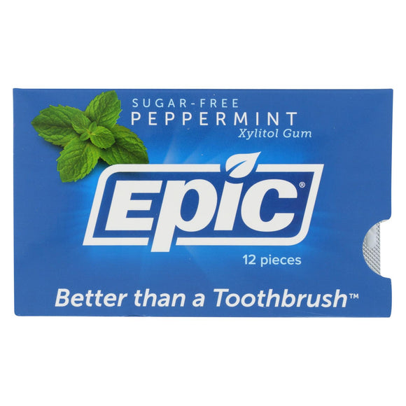 Epic Dental - Xylitol Gum - Peppermint - Case of 12 - 12 Pack