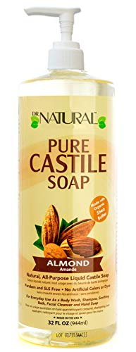 Dr Natural Pure Castile Soap Almond Cruelty + Paraben Free 32 Fl Oz Pack of 6
