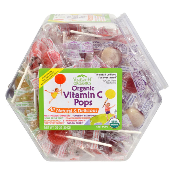 Yummy Earth Organic Vitamin C Pops Counter Bin - 150 Pops Pack of 3