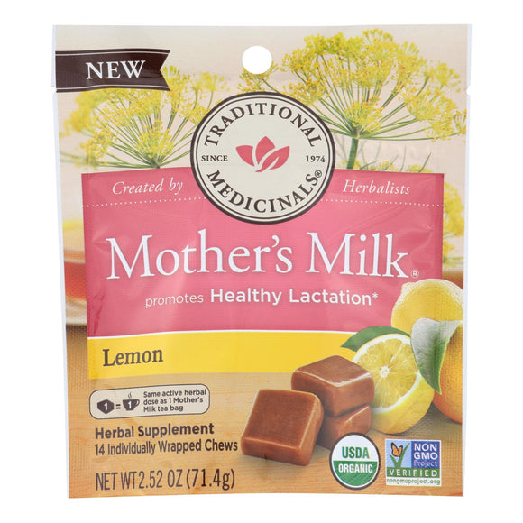 Traditional Medicinals Chews - Organic - Mother's Milk - Lemon - 2.52 oz Pack of 3
