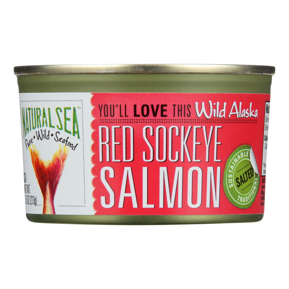 Natural Sea Wild Sockeye Salmon - Salted - 7.5 oz. Pack of 3