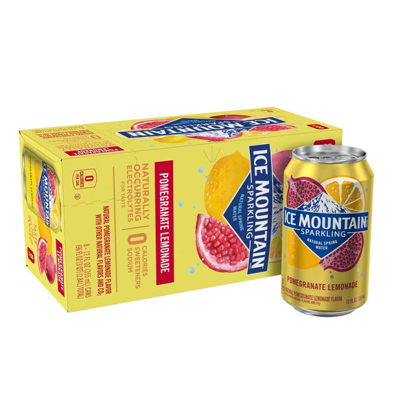 Ice Mountain - Sparkling Water - Pomegranate Lemonade - Case of 3 - 8/12 fl oz.