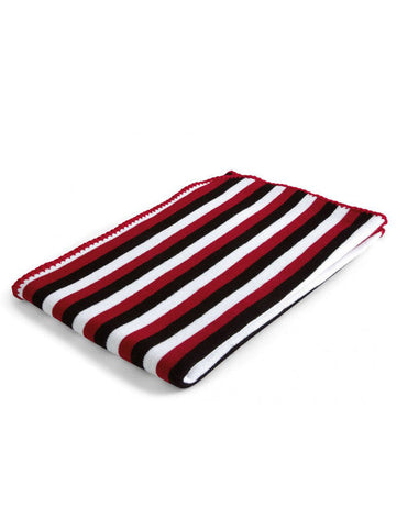 Baroo Striped Blanket - Black, Red & White