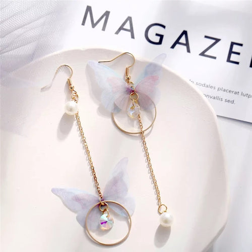 korean rainbow butterfly drop earrings