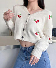 Load image into Gallery viewer, Cherry V-neck Crop Cardigan