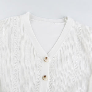 White V-Neck Cropped Cardigan