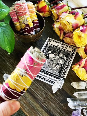 THE LOVERS << WHITE SAGE WITH ROSE PETALS >> SAGE SMUDGE