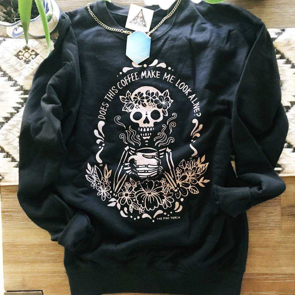 « COFFEE SKELETON » ROSE GOLD SHIMMER UNISEX PULLOVER