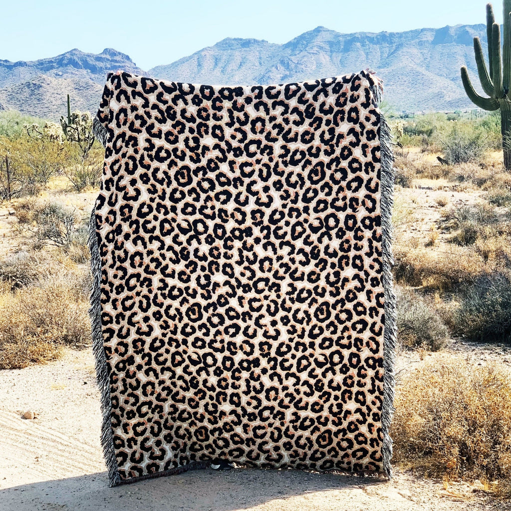 LEOPARD DOESN'T CHANGE HER SPOTS // WOVEN FRINGE BLANKET