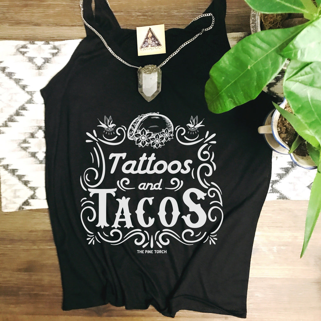 « TATTOOS AND TACOS » BLACK SLOUCHY TANK